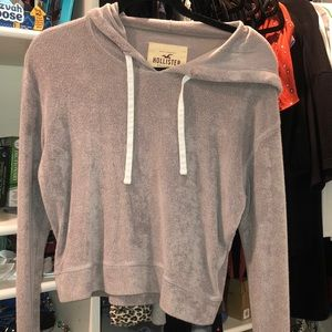 a light gray sweatshirt